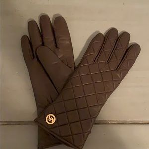 Michael Kors Brown Leather Gloves